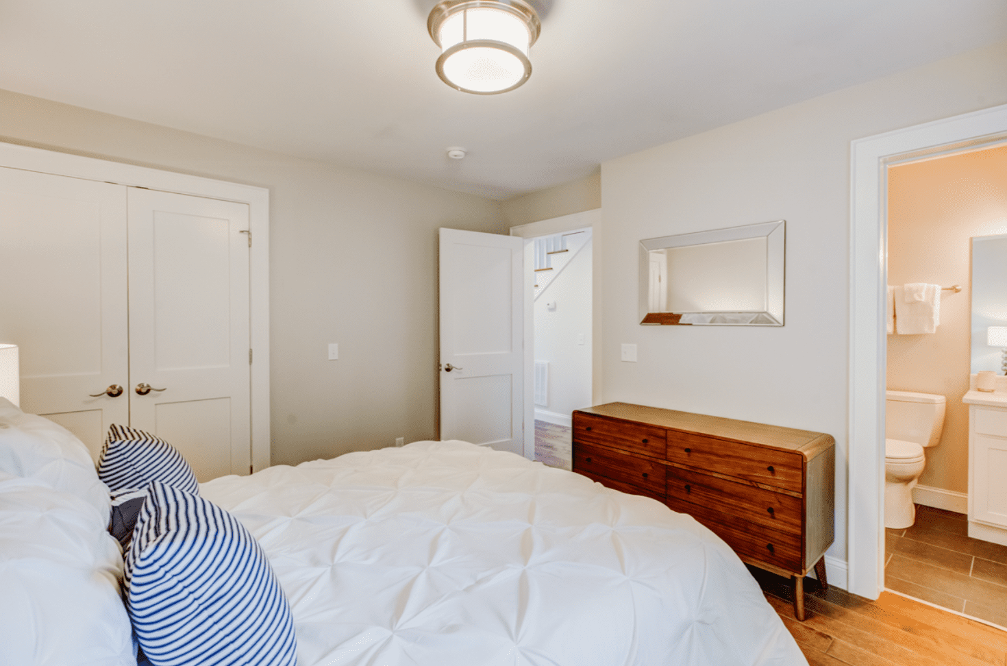 small bedroom with private bathroom